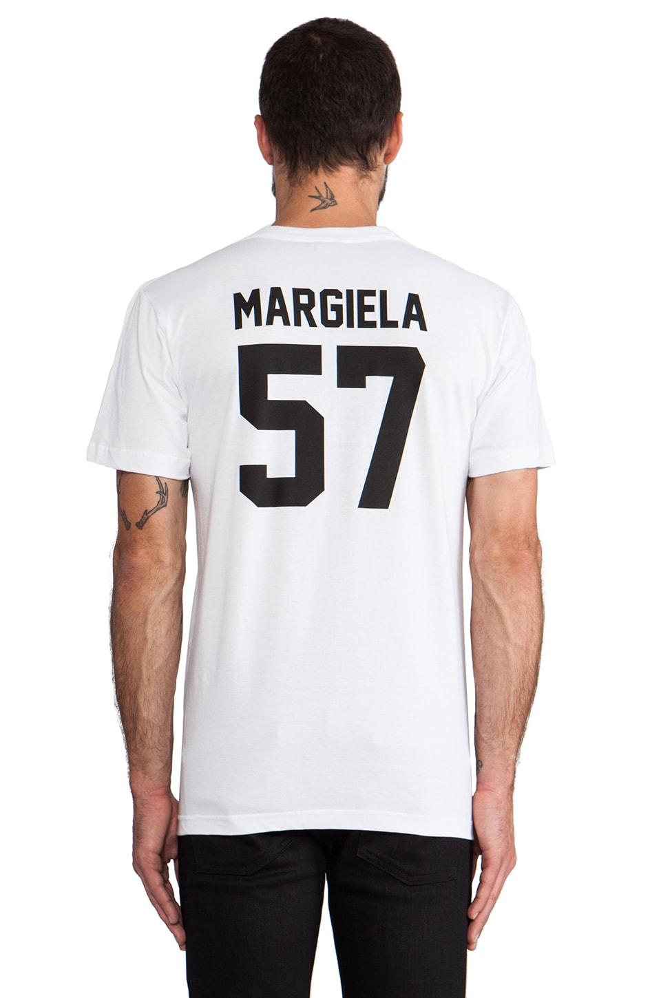 LPD New York Margiela Tee with Black Print in White