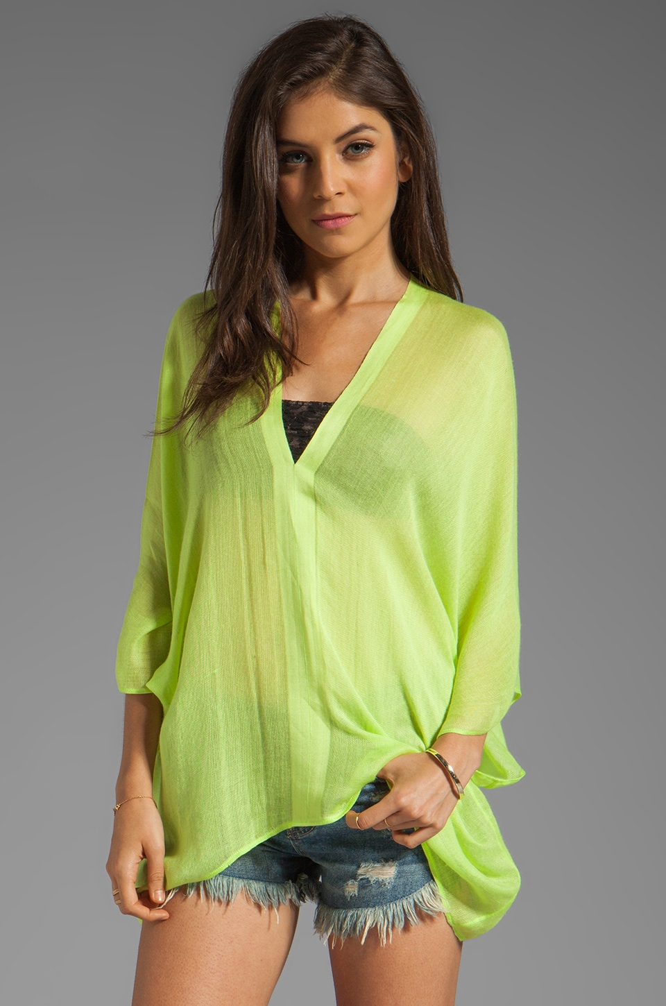 Love Quotes Shiva V-Neck Linen Top in Parakeet