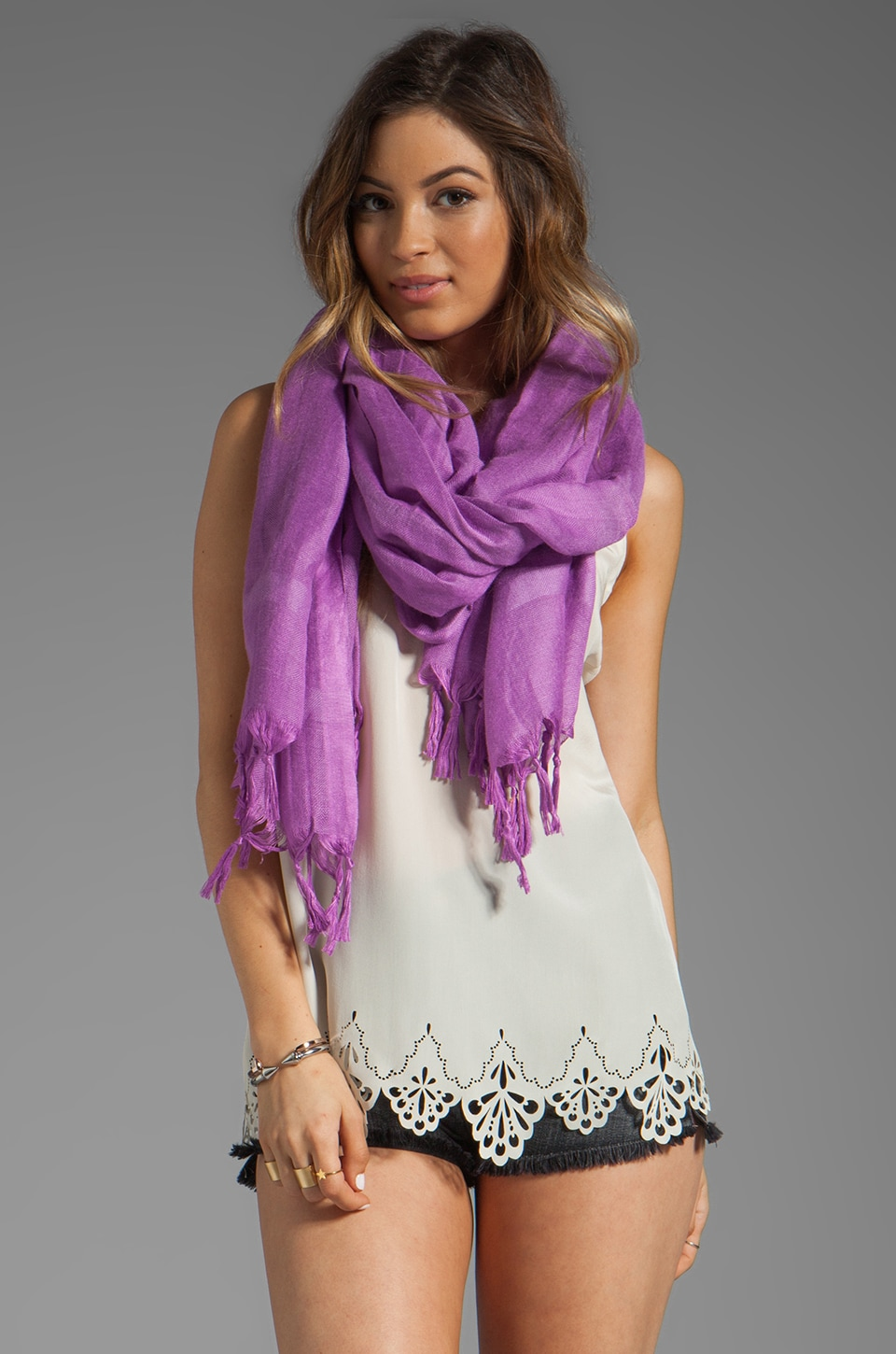 Love Quotes Knotted Tassel Scarf in Freesia