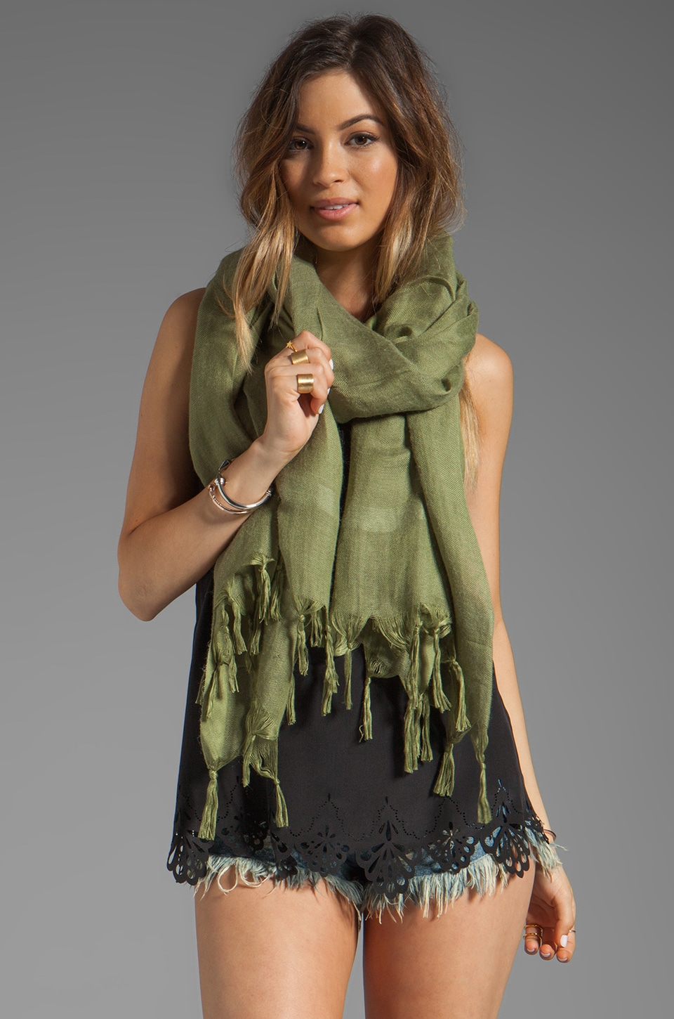 Love Quotes Knotted Tassel Scarf in Pesto