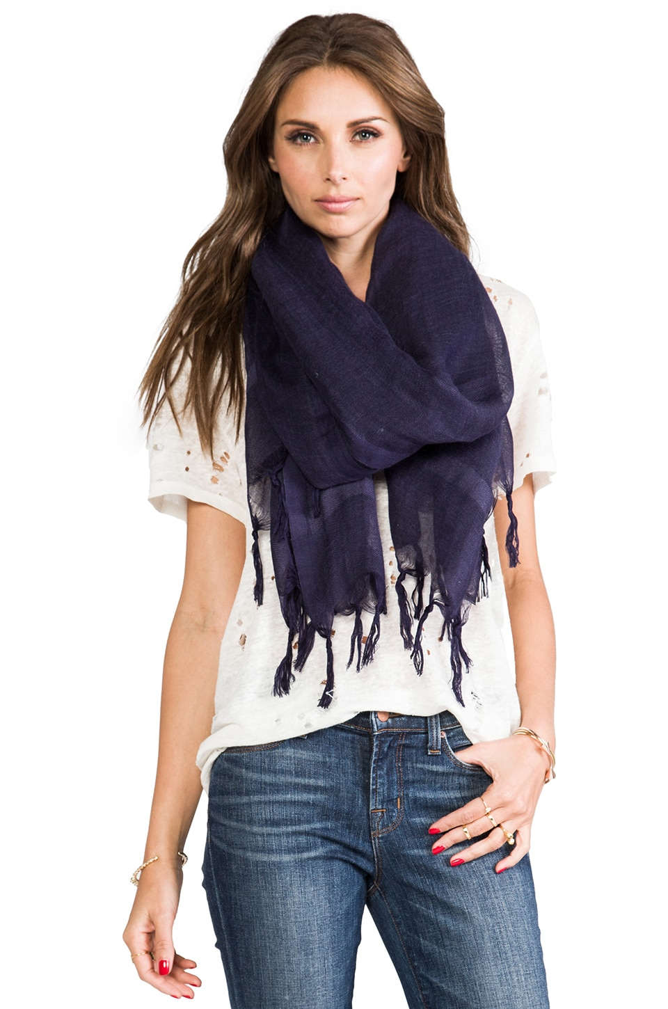 Love Quotes Knotted Tassel Scarf in Maritime