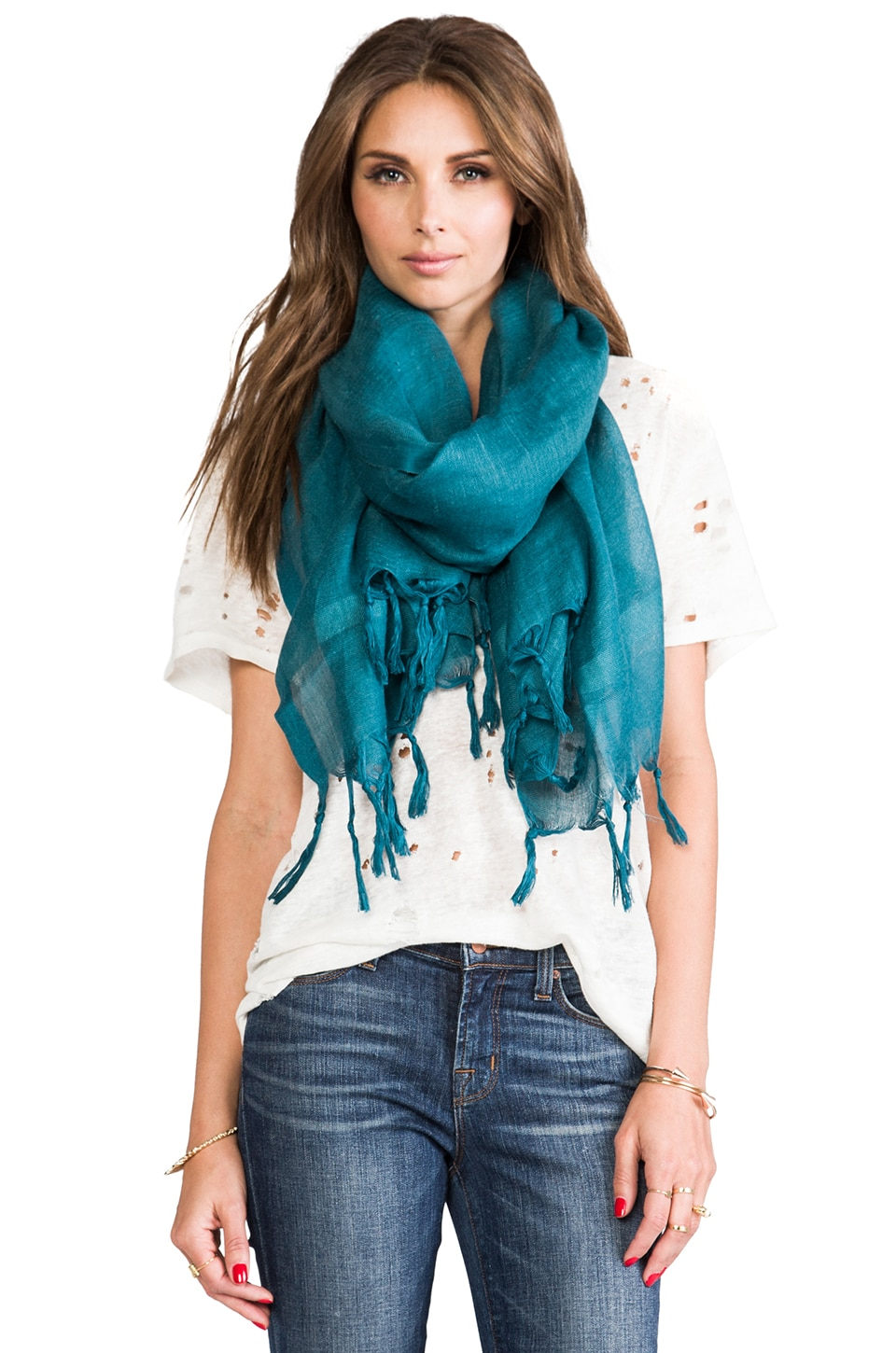 Love Quotes Knotted Tassel Scarf in Nile