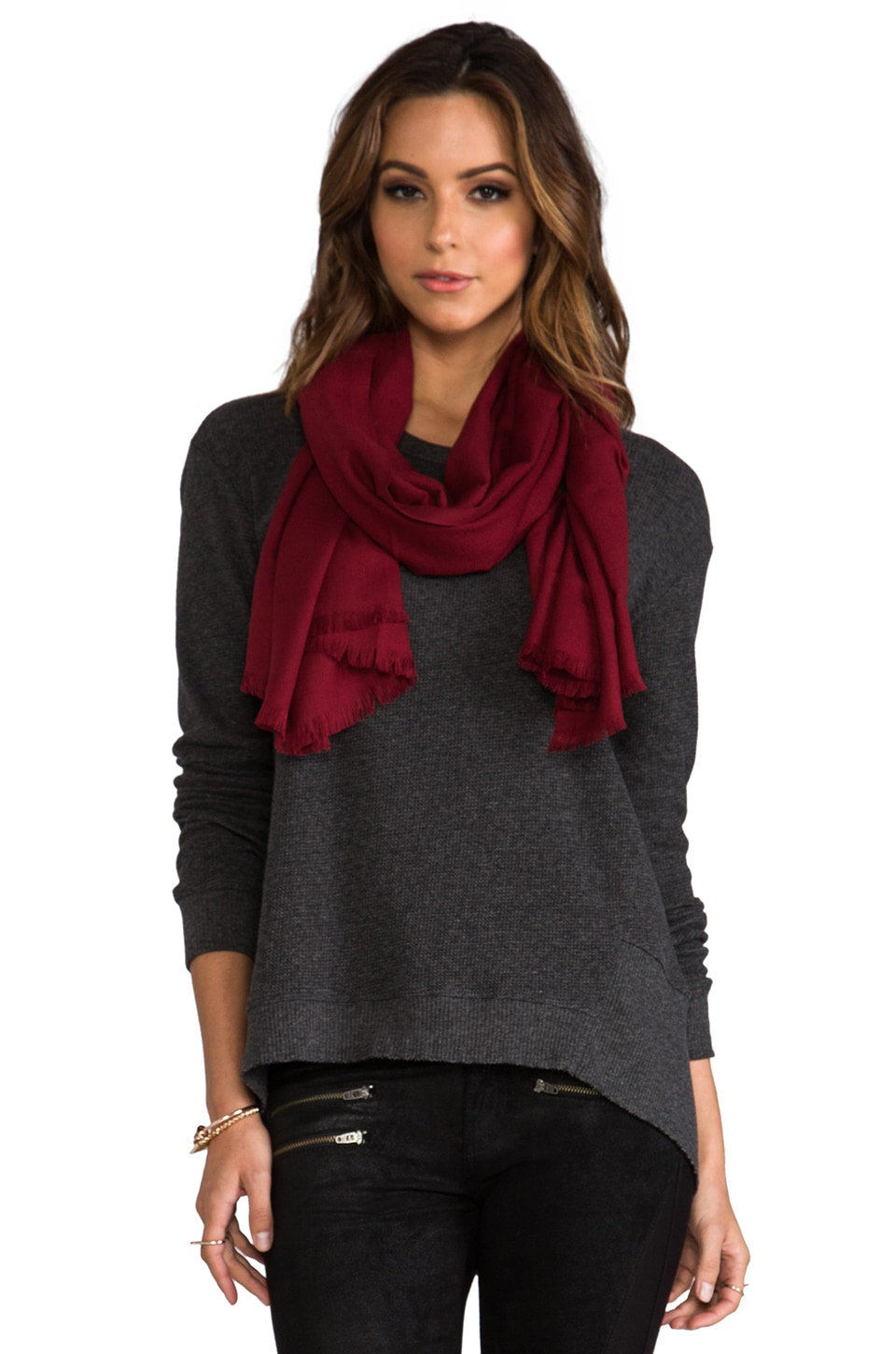 Love Quotes Rayon Eyelash Scarf in Bordeaux