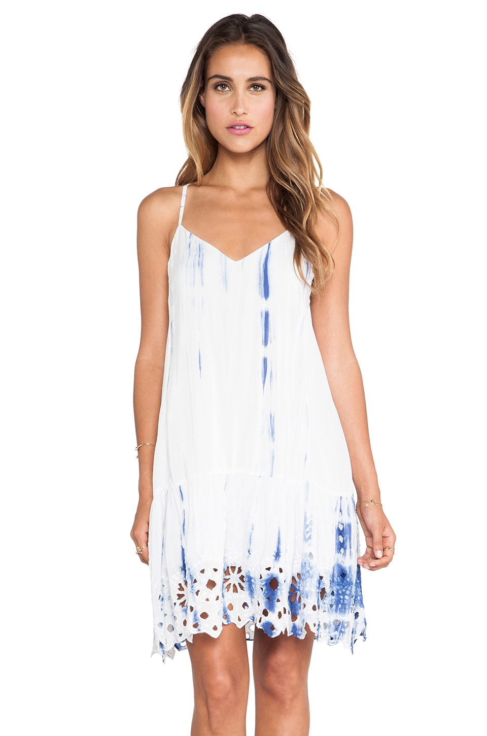 Love Sam Allie Flounce Dress in Blue Combo
