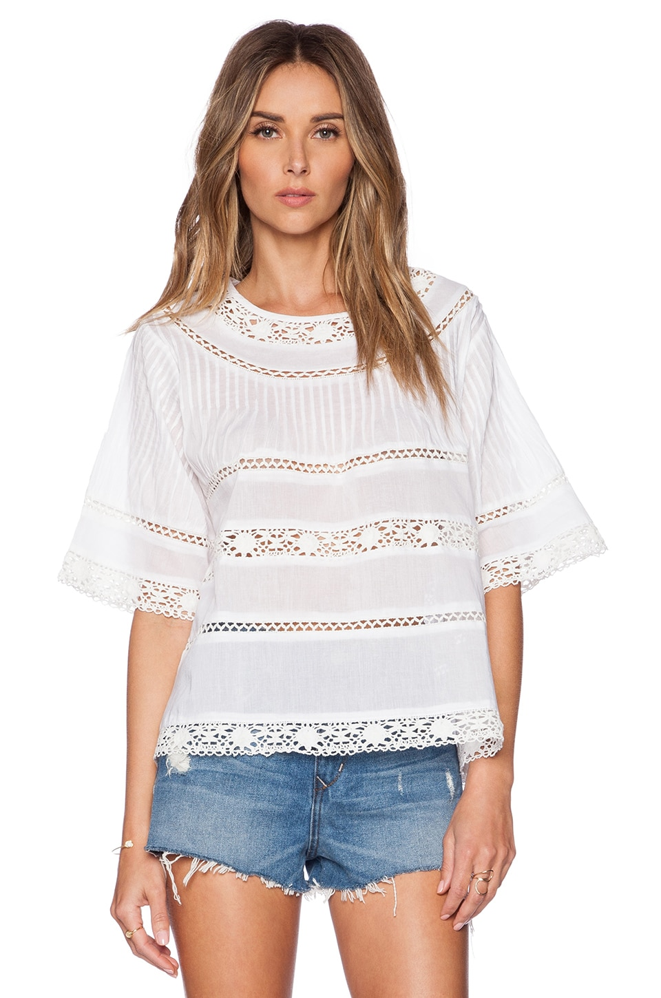Love  Vivian Swing Top with Lace en White