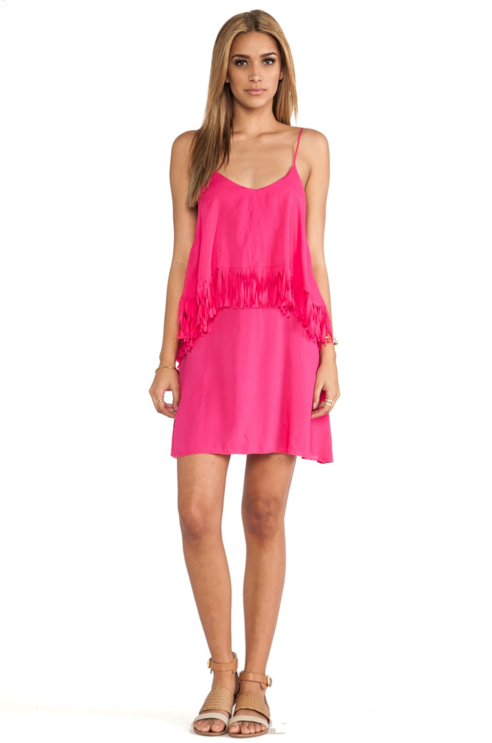 L*SPACE Wilde Fringe Mini Dress in Hot Pink