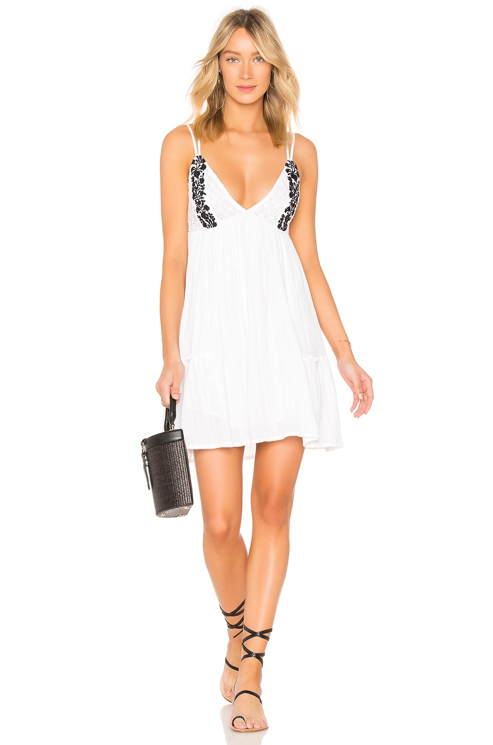 L*SPACE Eliana Embroidered Cotton Summer Dress in White