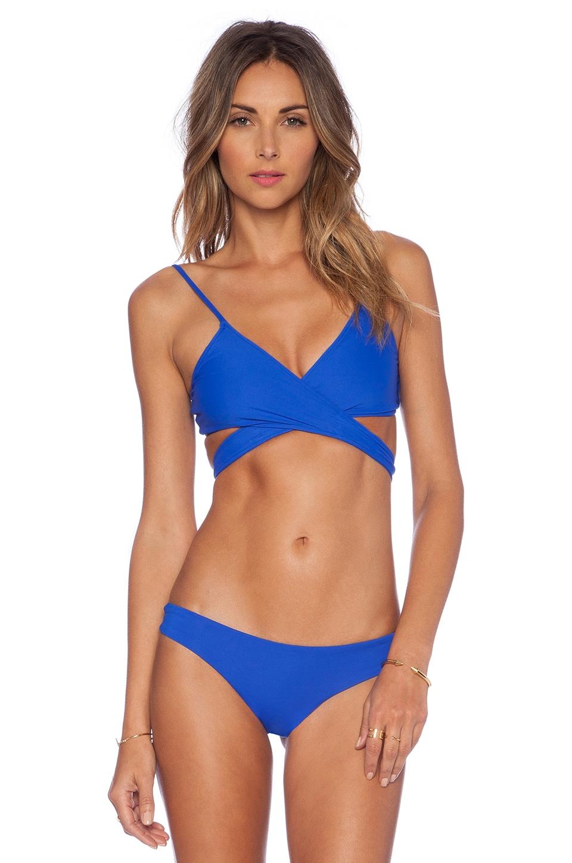 L*SPACE Chloe Wrap Bikini Top in Royal