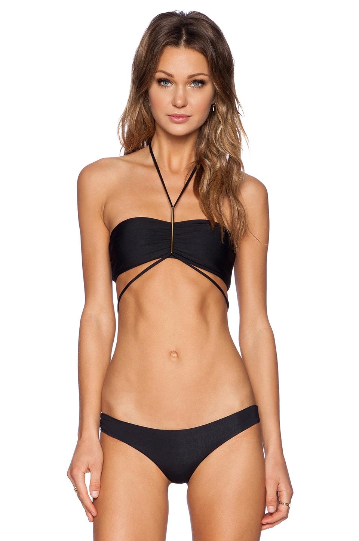 L*SPACE Kaella Bijoux Bikini Top in Black