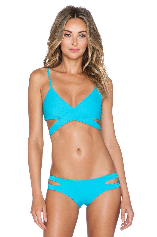 L*SPACE Chloe Wrap Bikini Top in Turquoise
