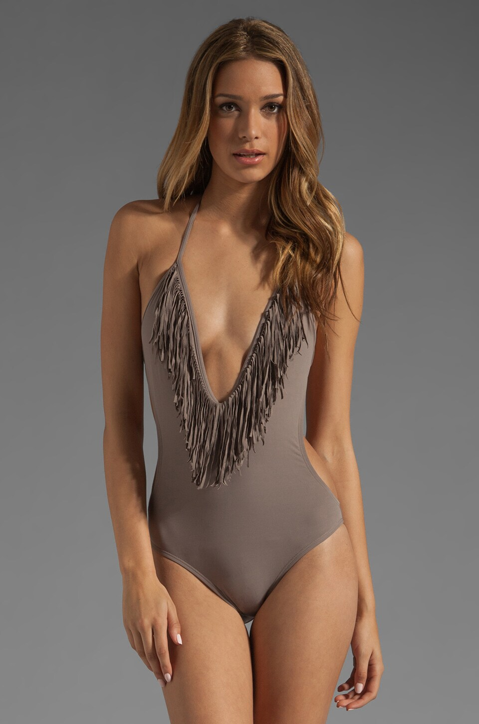 L*SPACE Stardust Fringe One Piece in Taupe