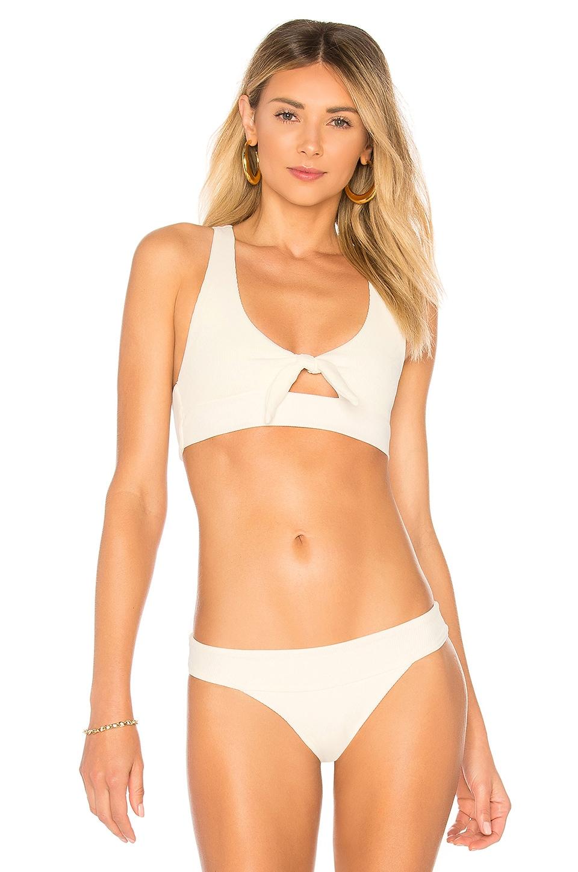 Tara Ribbed Bikini Top, Ivory