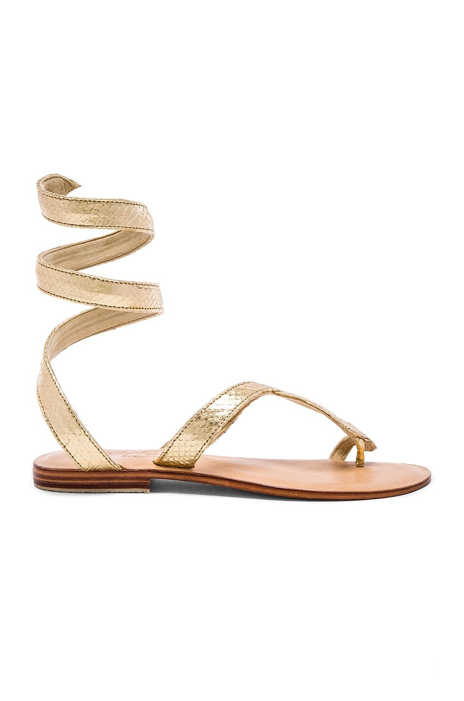 L*SPACE Snake Wrap Sandal in Gold