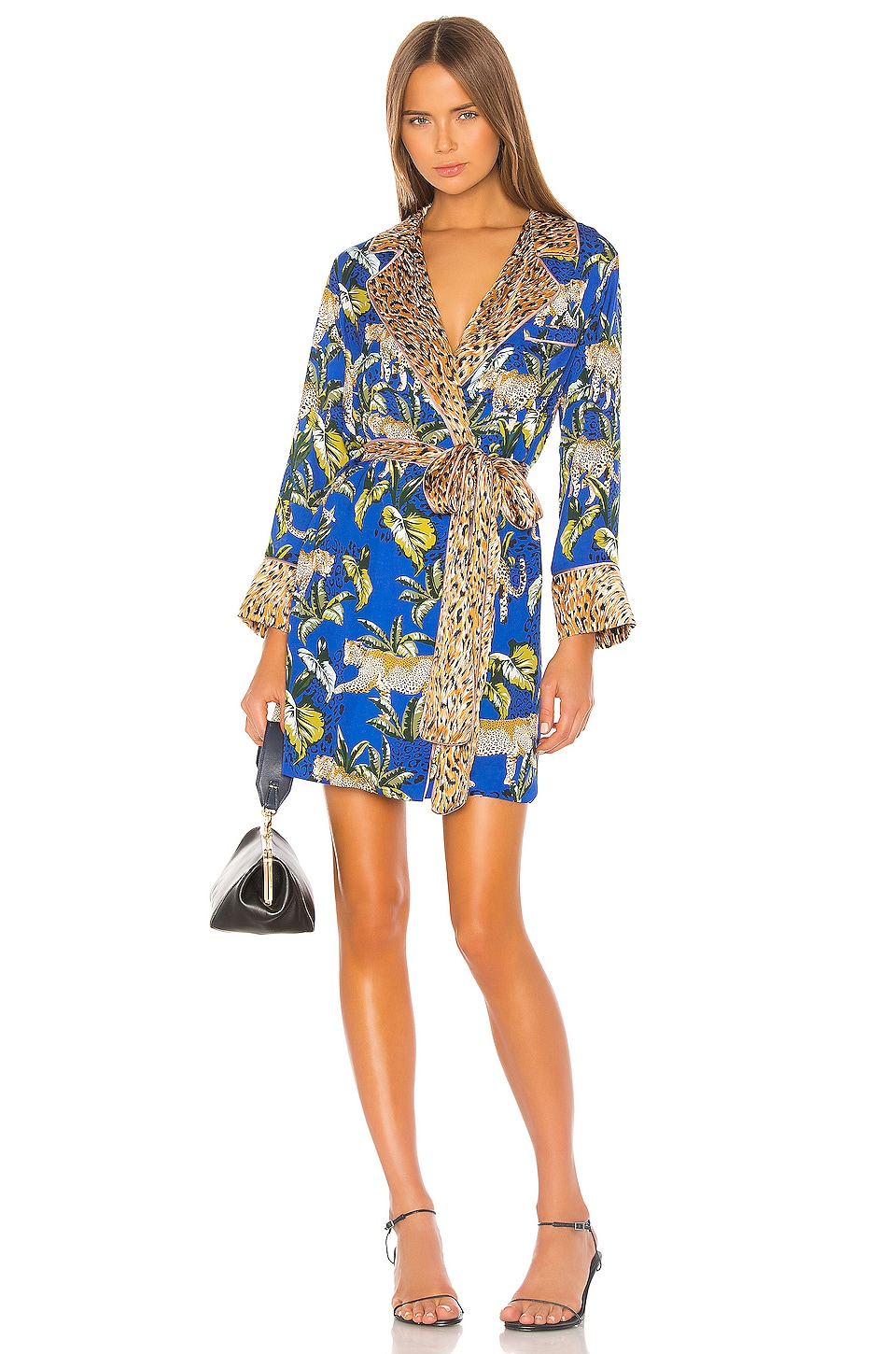 Le Superbe Moonshadows Robe Dress in Roaming Leopards