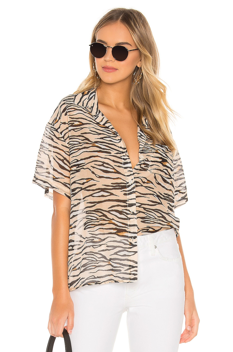 Le Superbe Club Tropicana Shirt in Nude Tiger