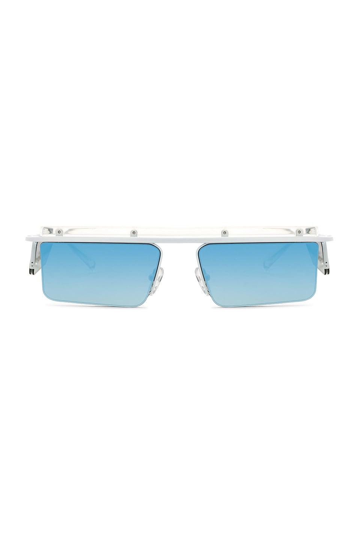 Le Specs x Adam Selman The Flex in White & Blue Mirror