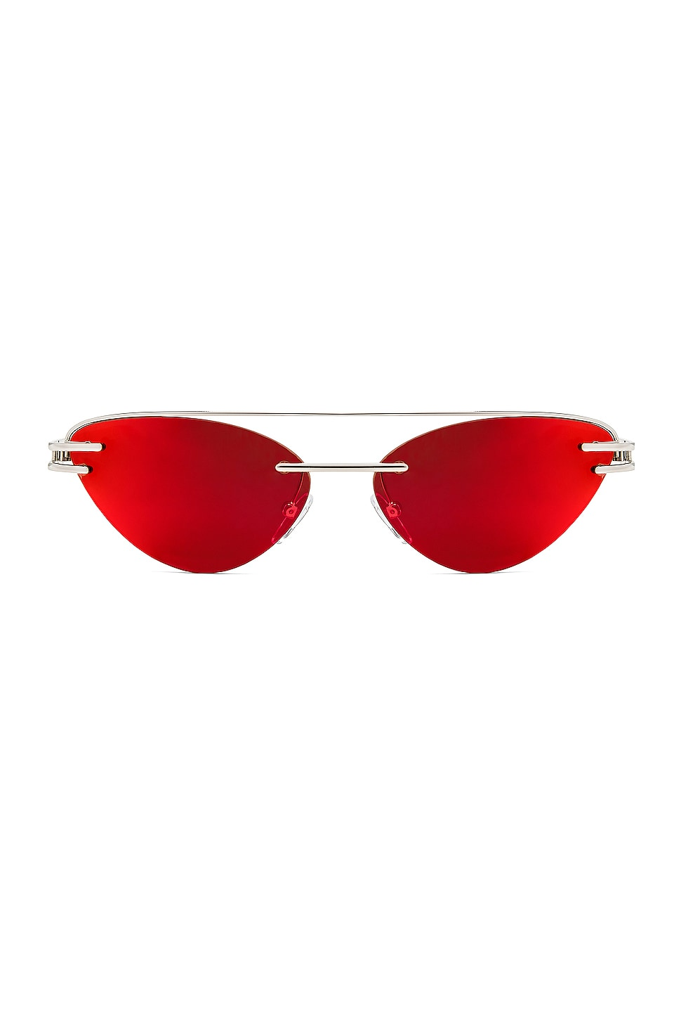 Le Specs x Adam Selman The Coupe in Silver & Red Mirror