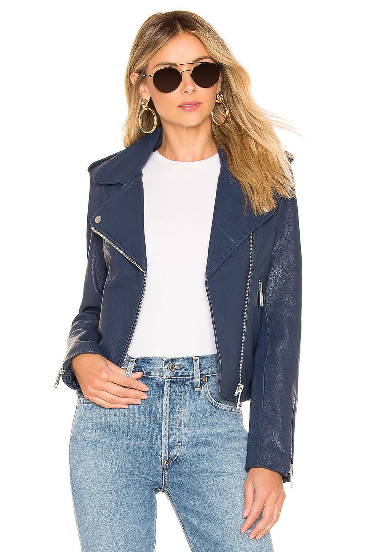 LTH JKT Kas Modern Biker Jacket in Mercury Blue
