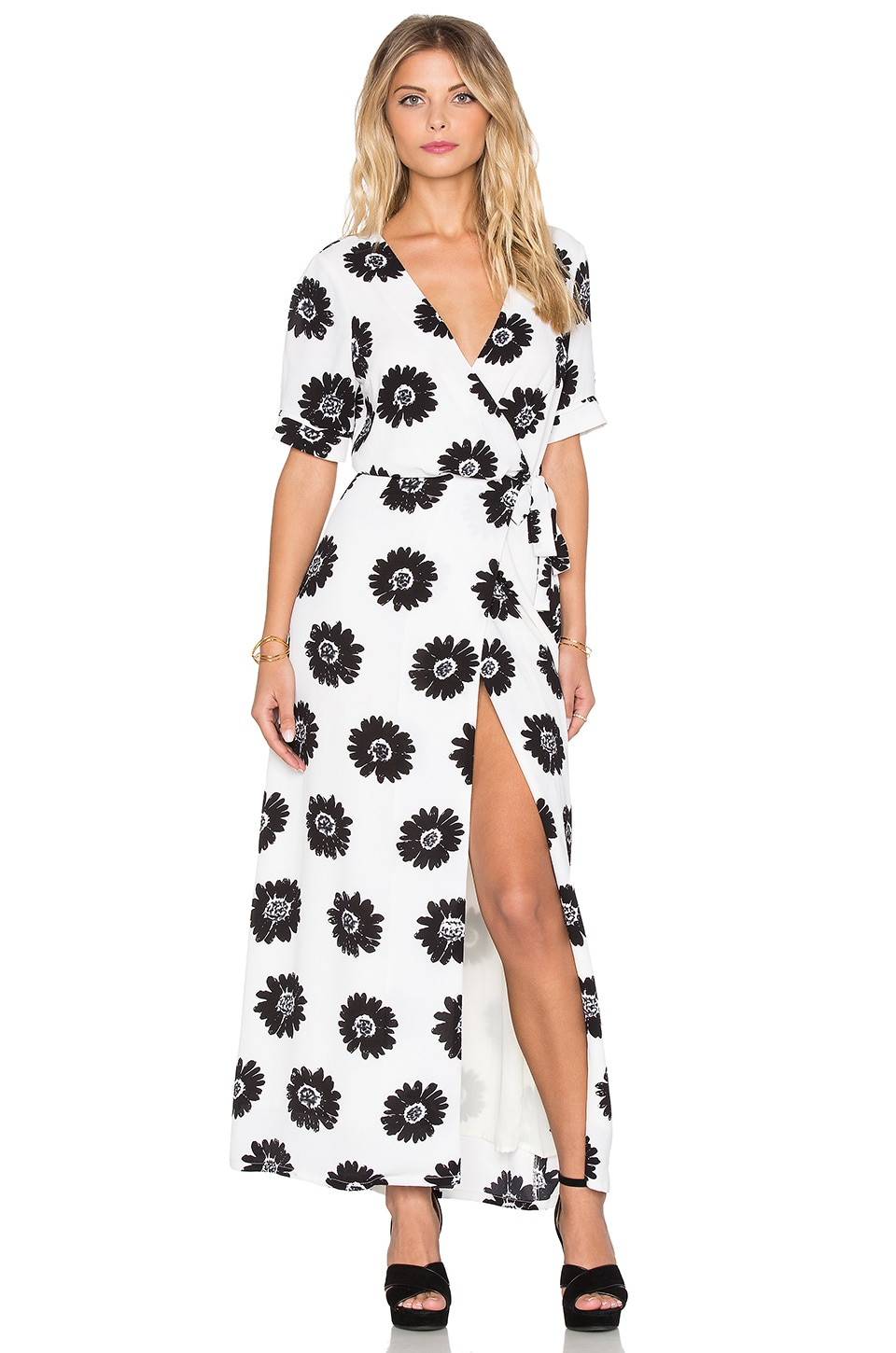 Lucca Couture Short Sleeve Wrap Maxi Dress in Off White & Black