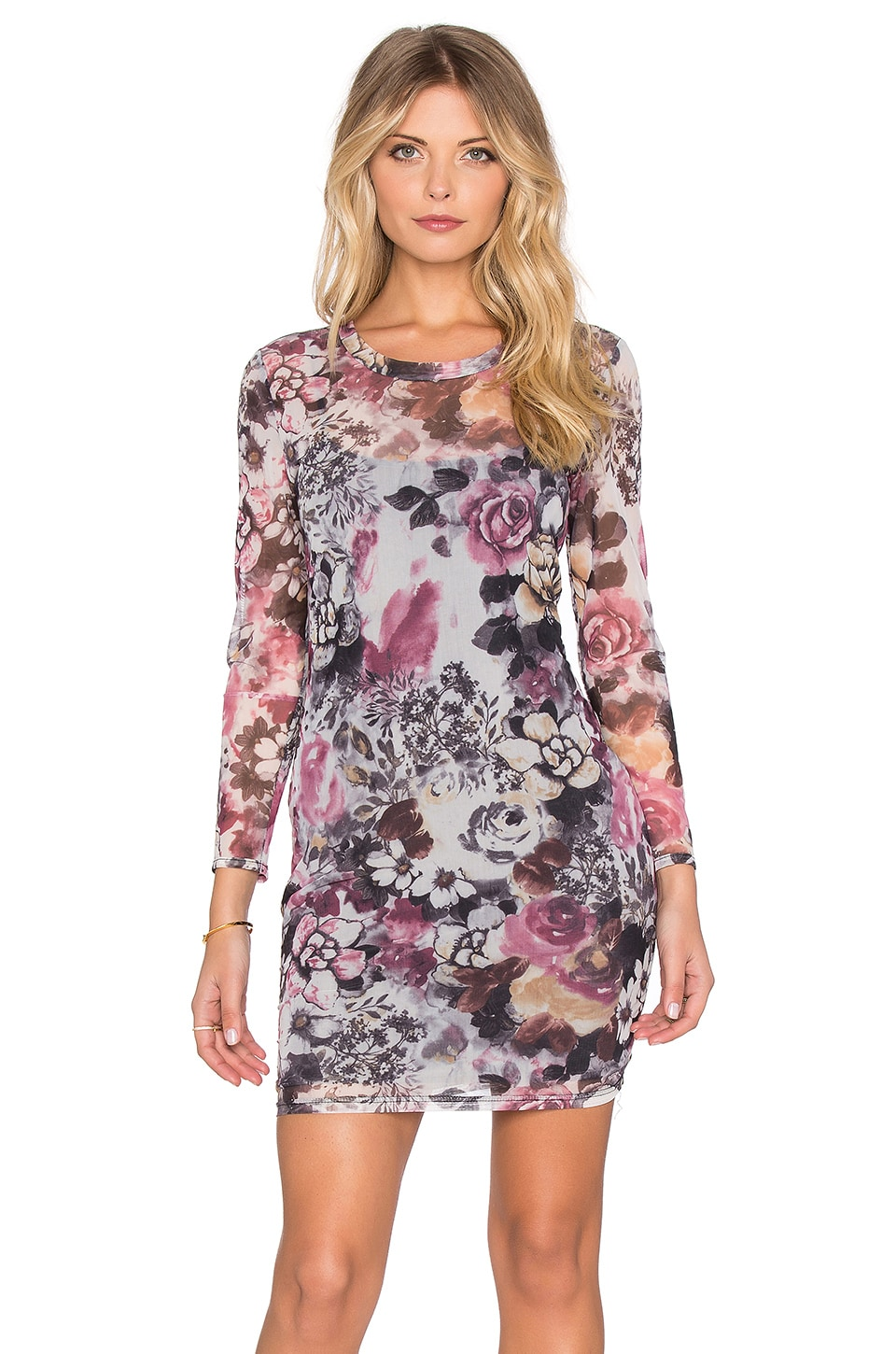 Lucca Couture Floral Mesh Longsleeve Bodycon Dress in Navy & Pink Floral