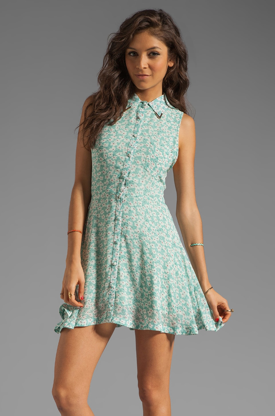 Lucca Couture Metal Tip Collared Tank Dress in Sea Breeze Floral