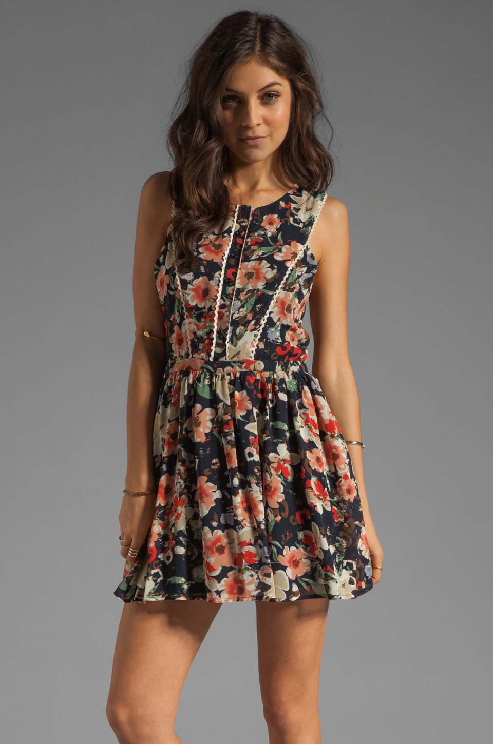 Lucca Couture Floral Tank Mini Dress in Navy/Blush