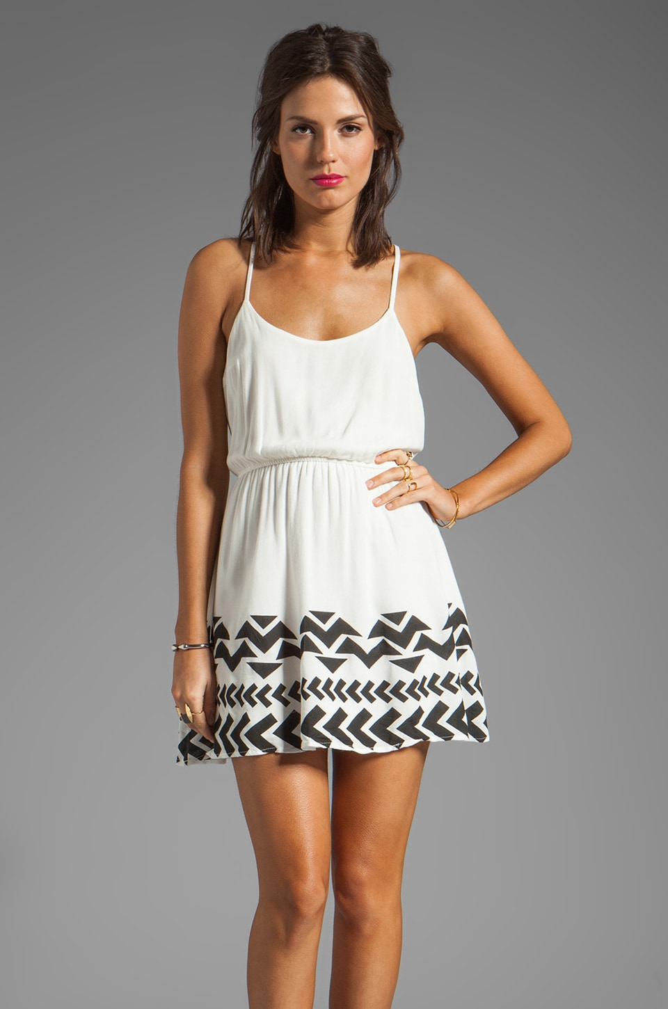 Lucca Couture Tank Dress with Bottom Hem Detail in White