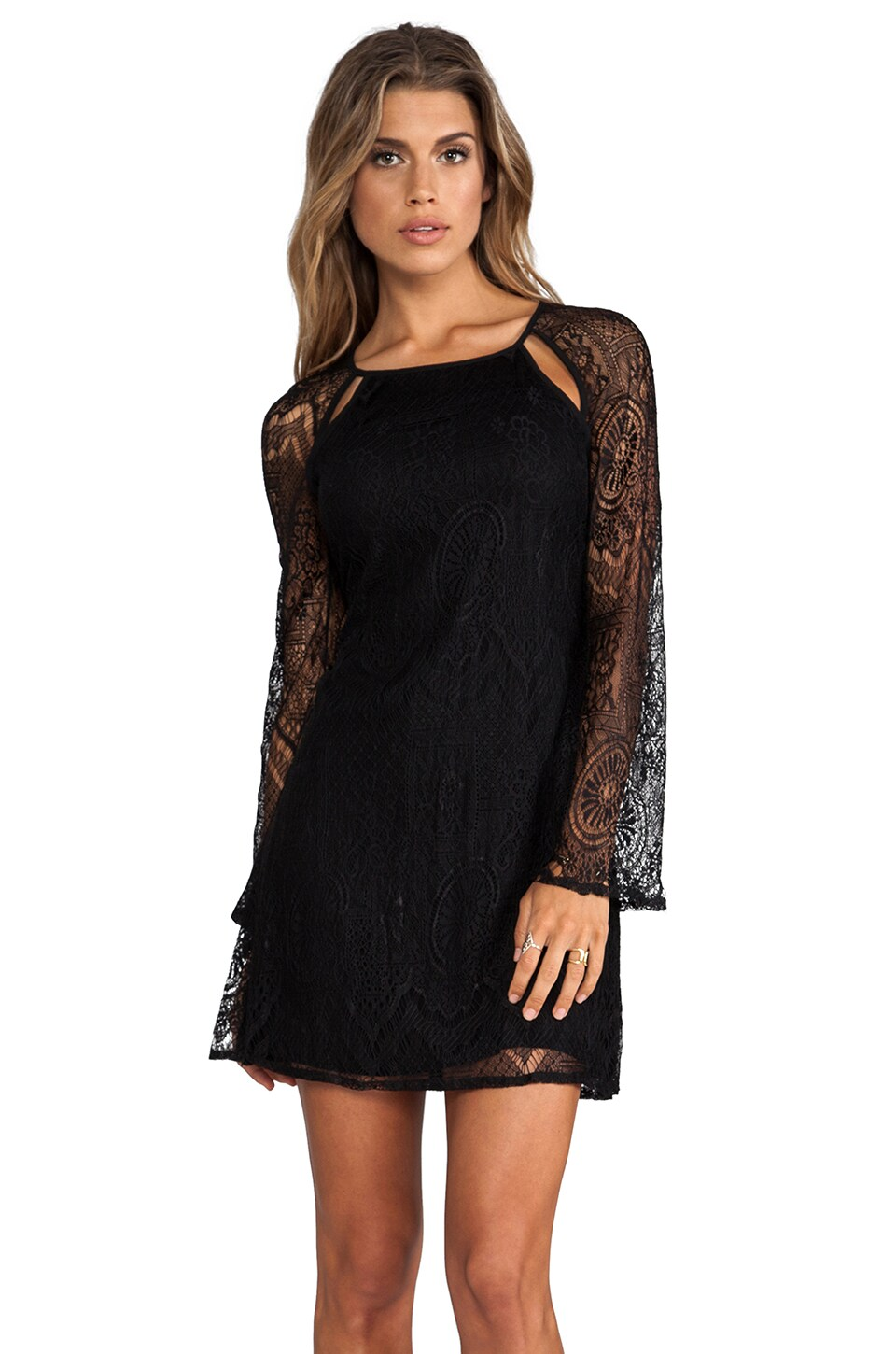 Lucca Couture Dress with Lace Sleeves in Black