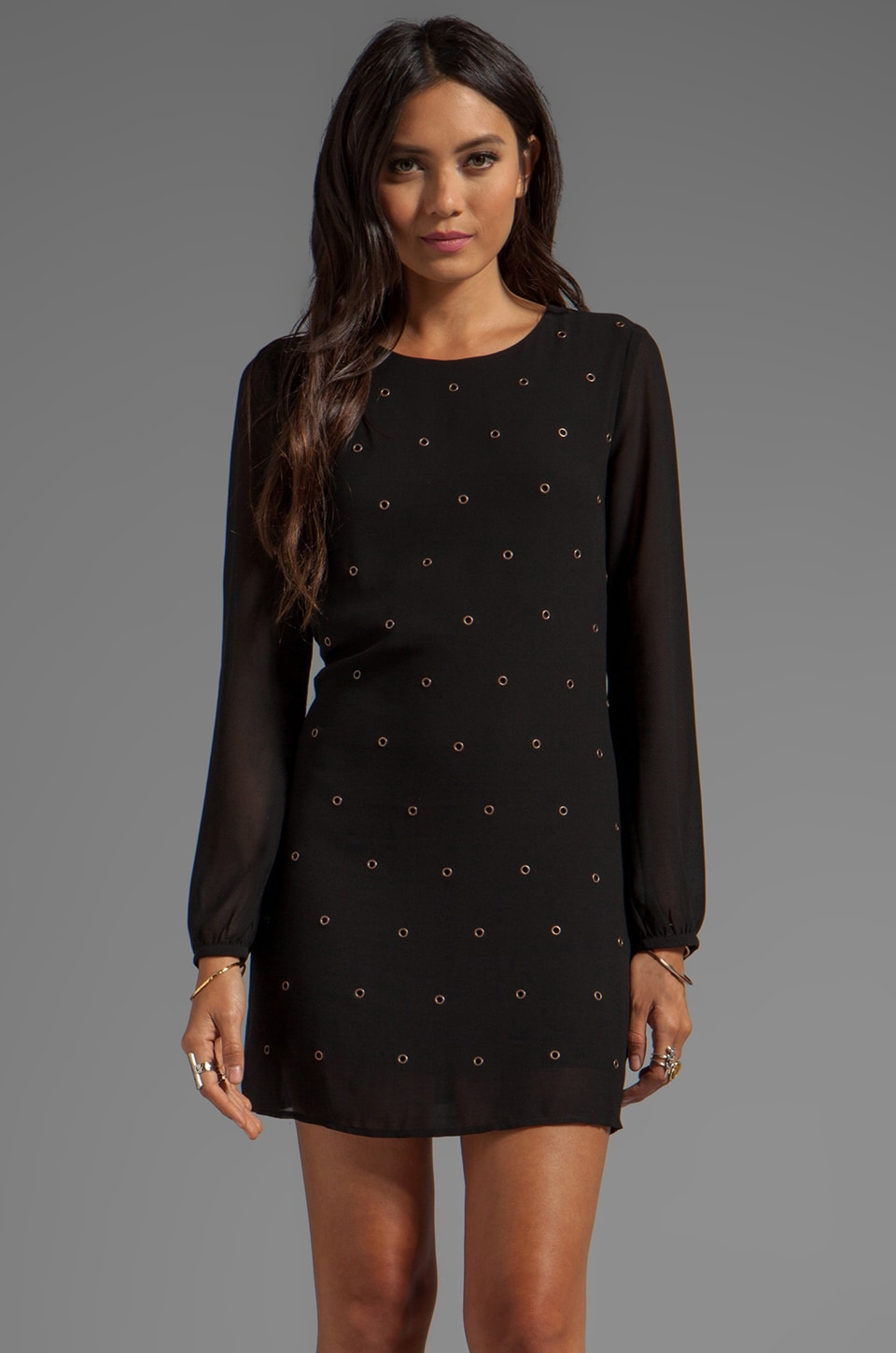 Lucca Couture Grommet Long Sleeve Dress in Black