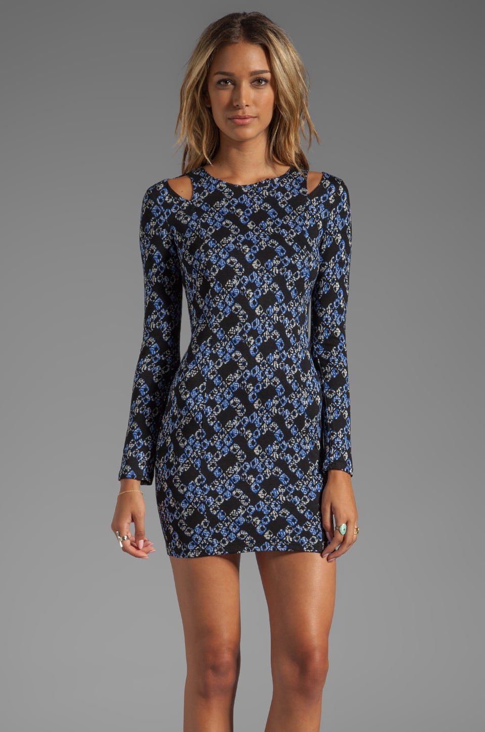 Lucca Couture Long Sleeve Dress With Cut Out in Blue Print