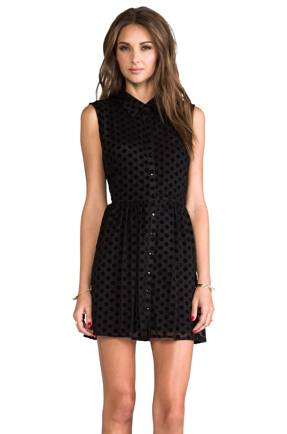Lucca Couture Cut Out Sleeveless Shirt Dress in Black