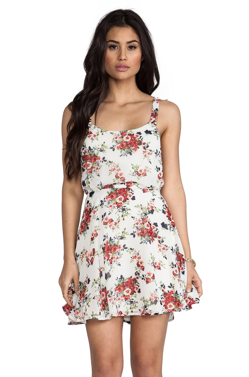 Lucca Couture Floral Tank Dress in Ivory Rose