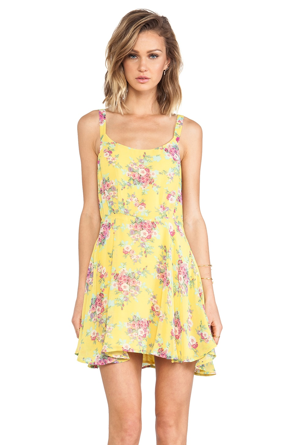 Lucca Couture Floral Tank Dress in Citrus Rose