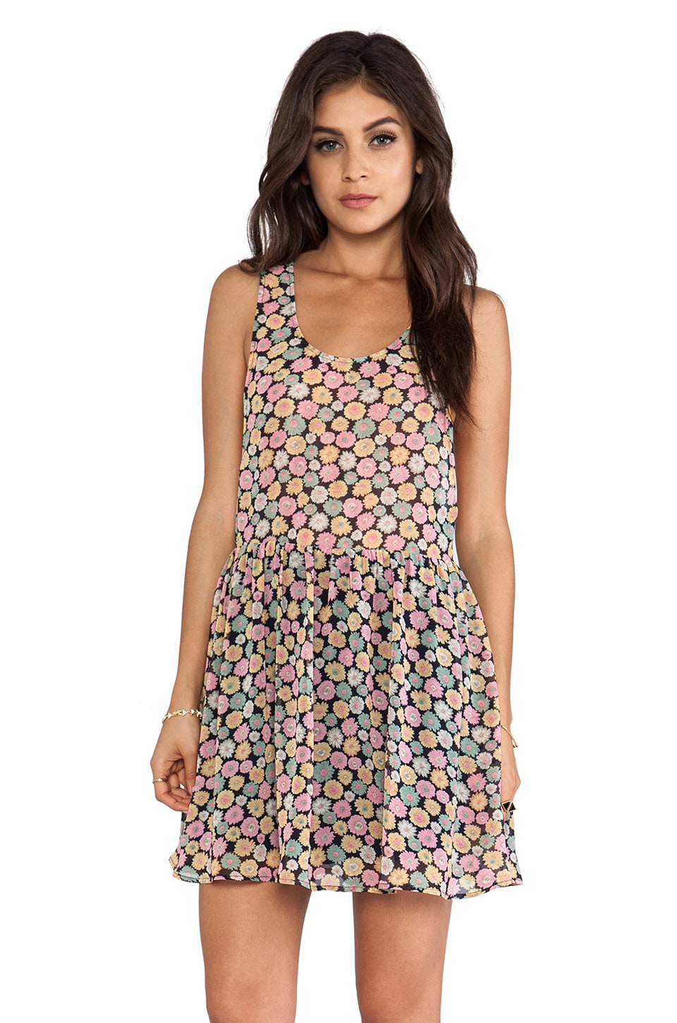 Lucca Couture Mini Tank Dress in Navy Daisies