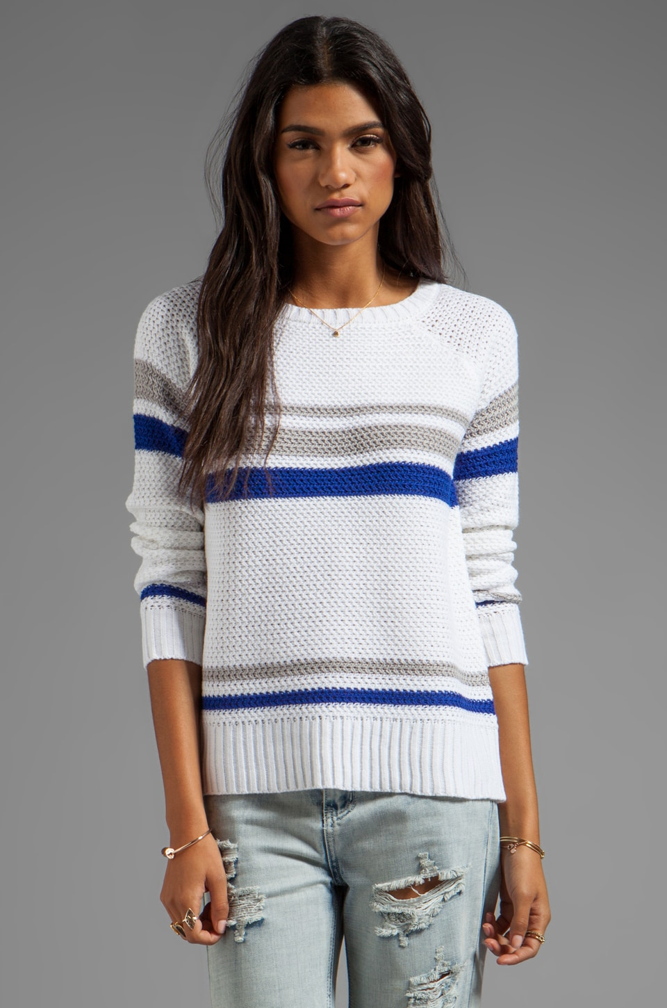 Lucca Couture Striped Sweater in Optic White