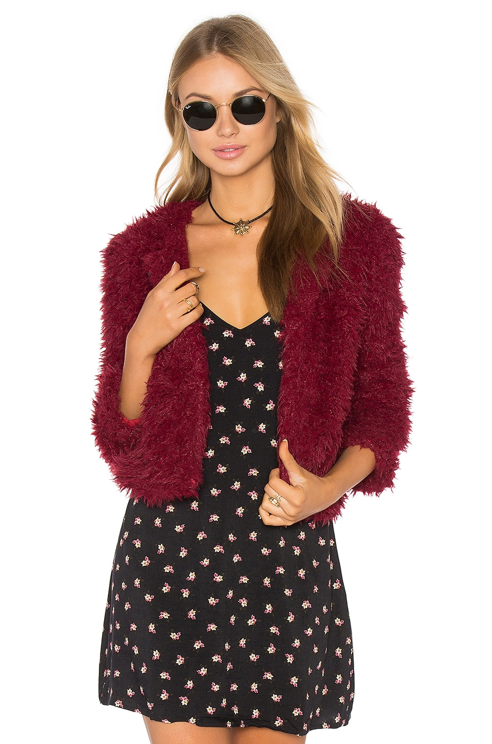 Lucca Couture Rebekah Faux Fur Jacket in Wine