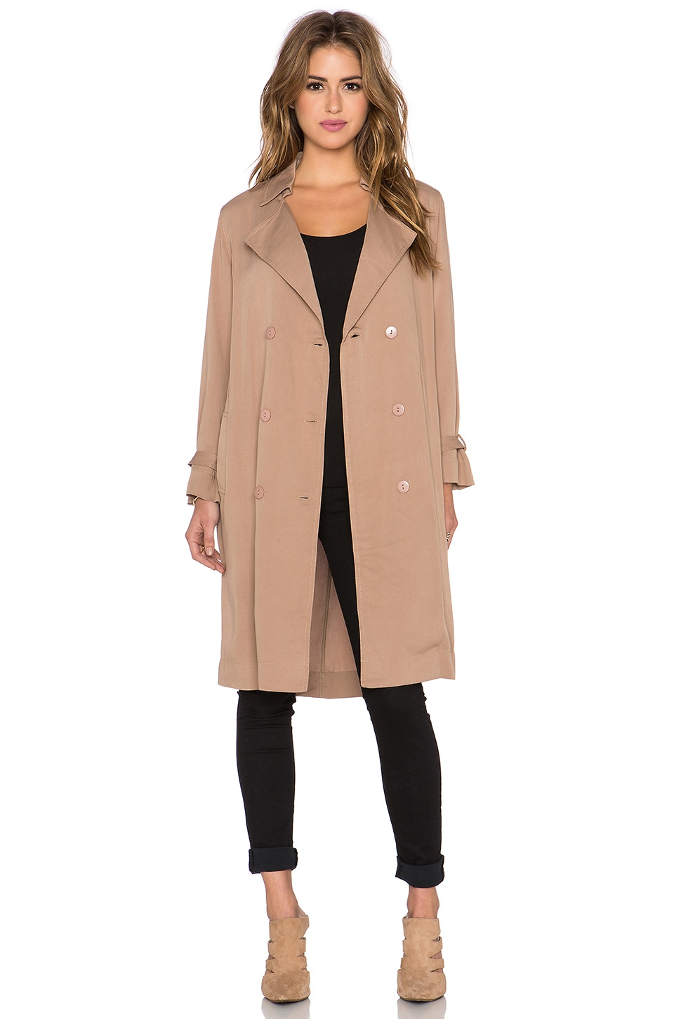 Lucca Couture Trench Coat in Taupe