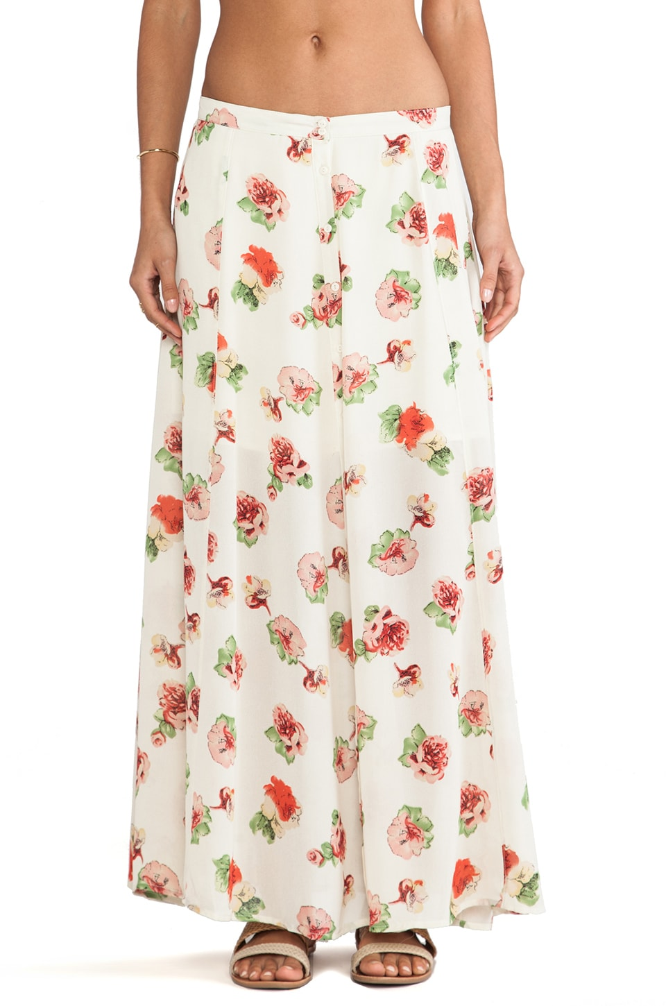 Lucca Couture Floral Maxi Skirt in Ivory Floral