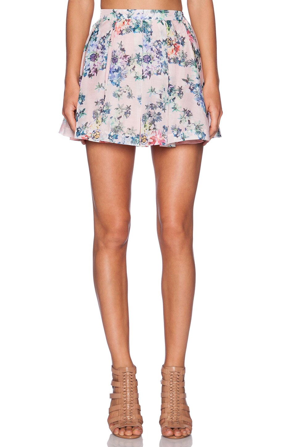 Lucca Couture Circle Skirt in Pink White Floral