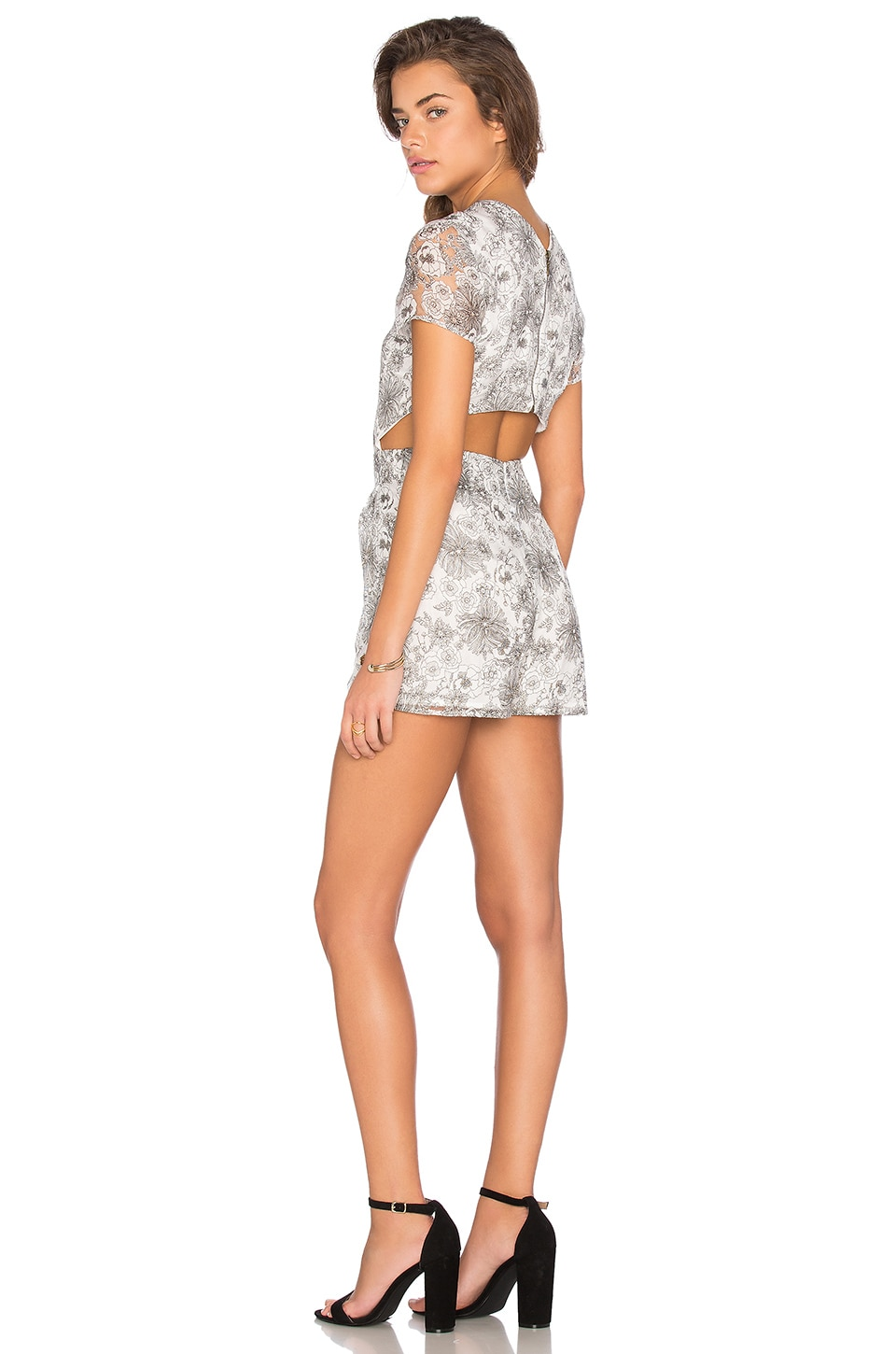 Lucca Couture Open Back Printed Organza Romper in Grey & Black Floral