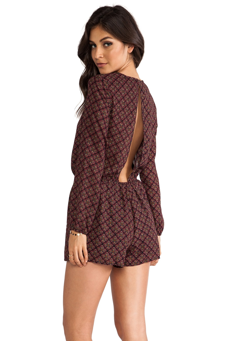 Lucca Couture Long Sleeve Romper in Black