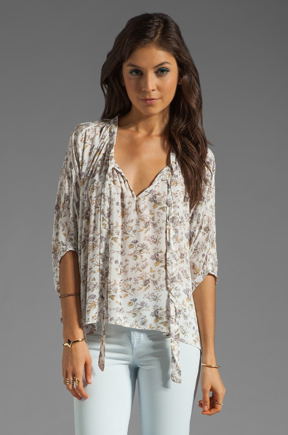 Lucca Couture Oversized Floral Top in White Floral