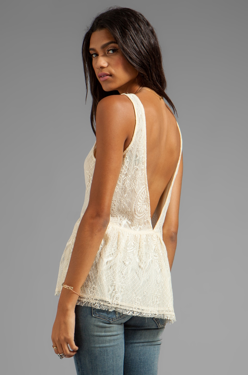 Lucca Couture Lace Tank in Ivory
