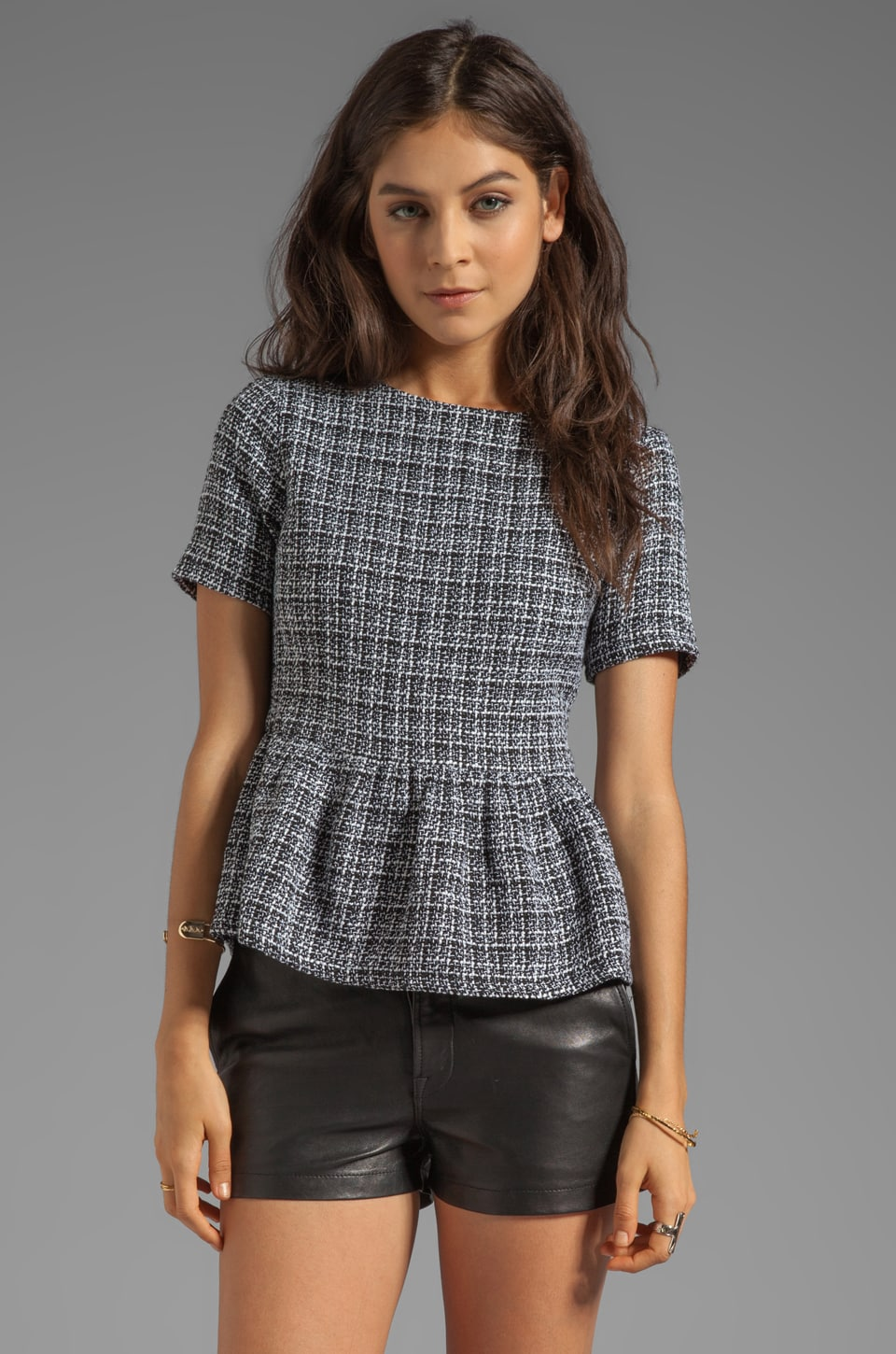 Lucca Couture Peplum Top in Black/White