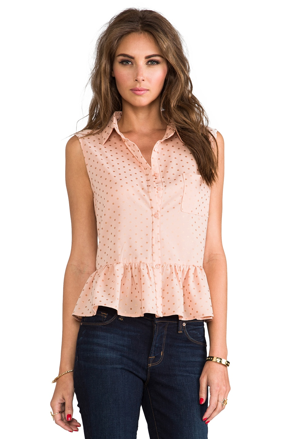 Lucca Couture Cut Out Sleeveless Button-down in Blush/Gold