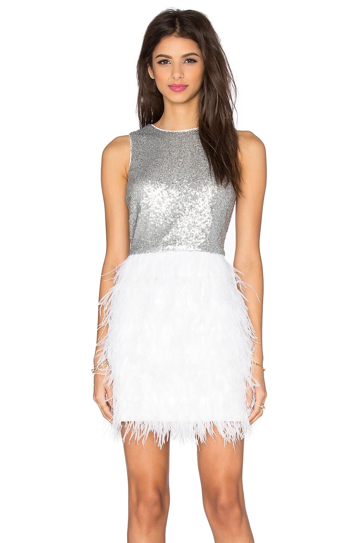 Lucy Paris Masquerade Shift Dress in Silver & White