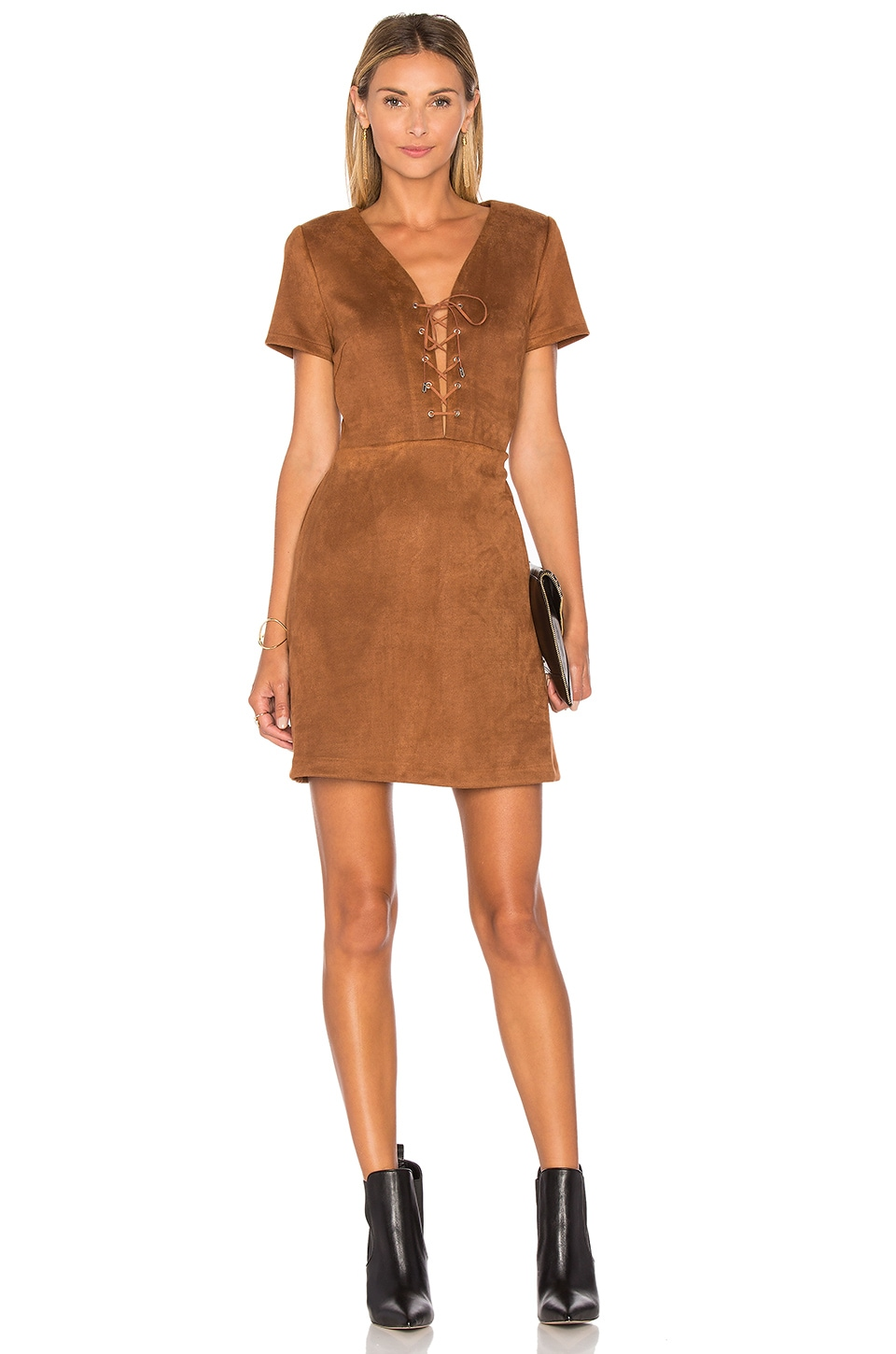 Jaida Faux Suede Lace Up Dress by Lucy Paris
