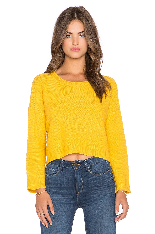Lucy Paris Hi-Lo Crop Sweater in Mustard