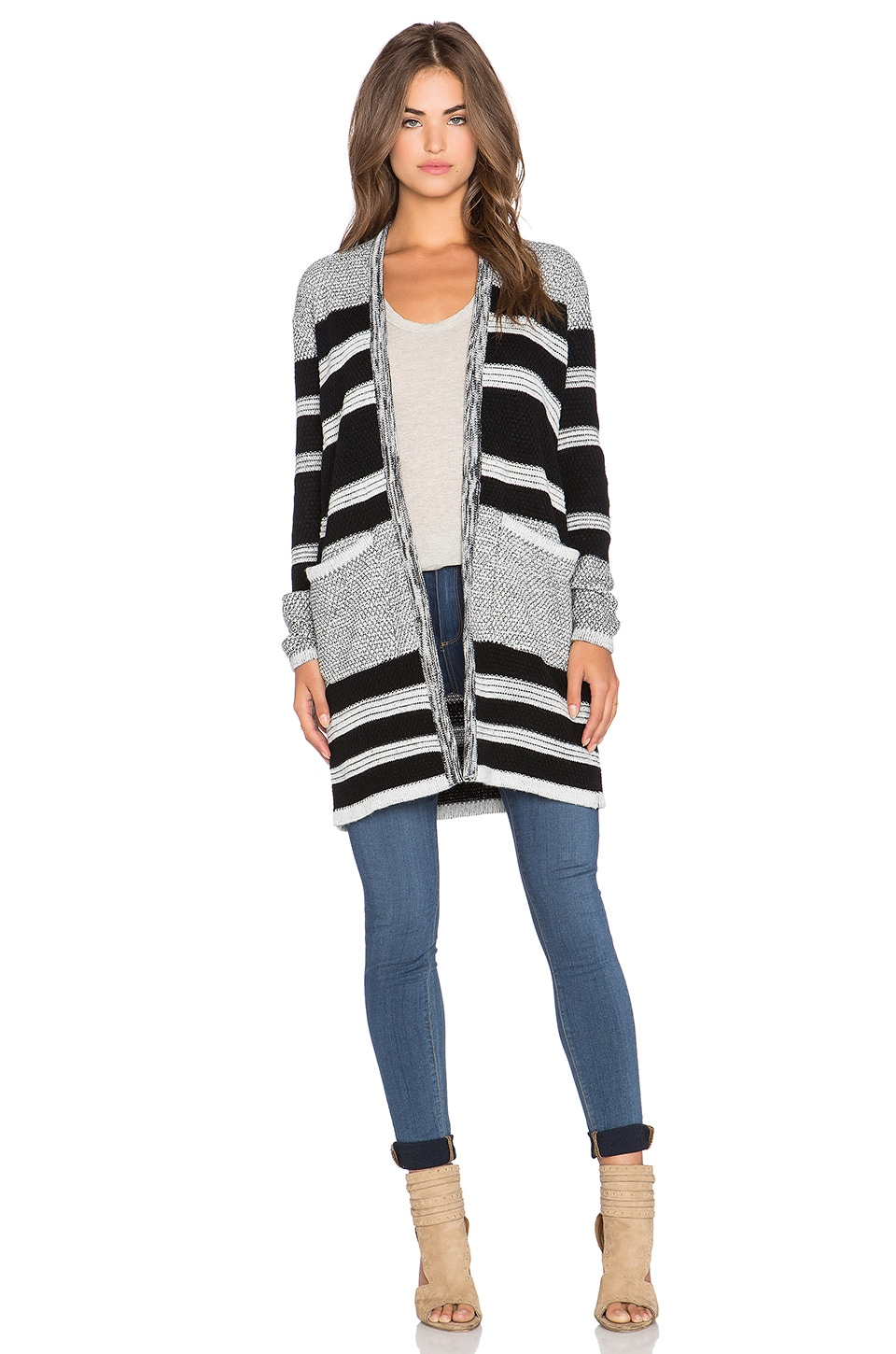 Lucy Paris Fireside Cardigan in Black & Grey
