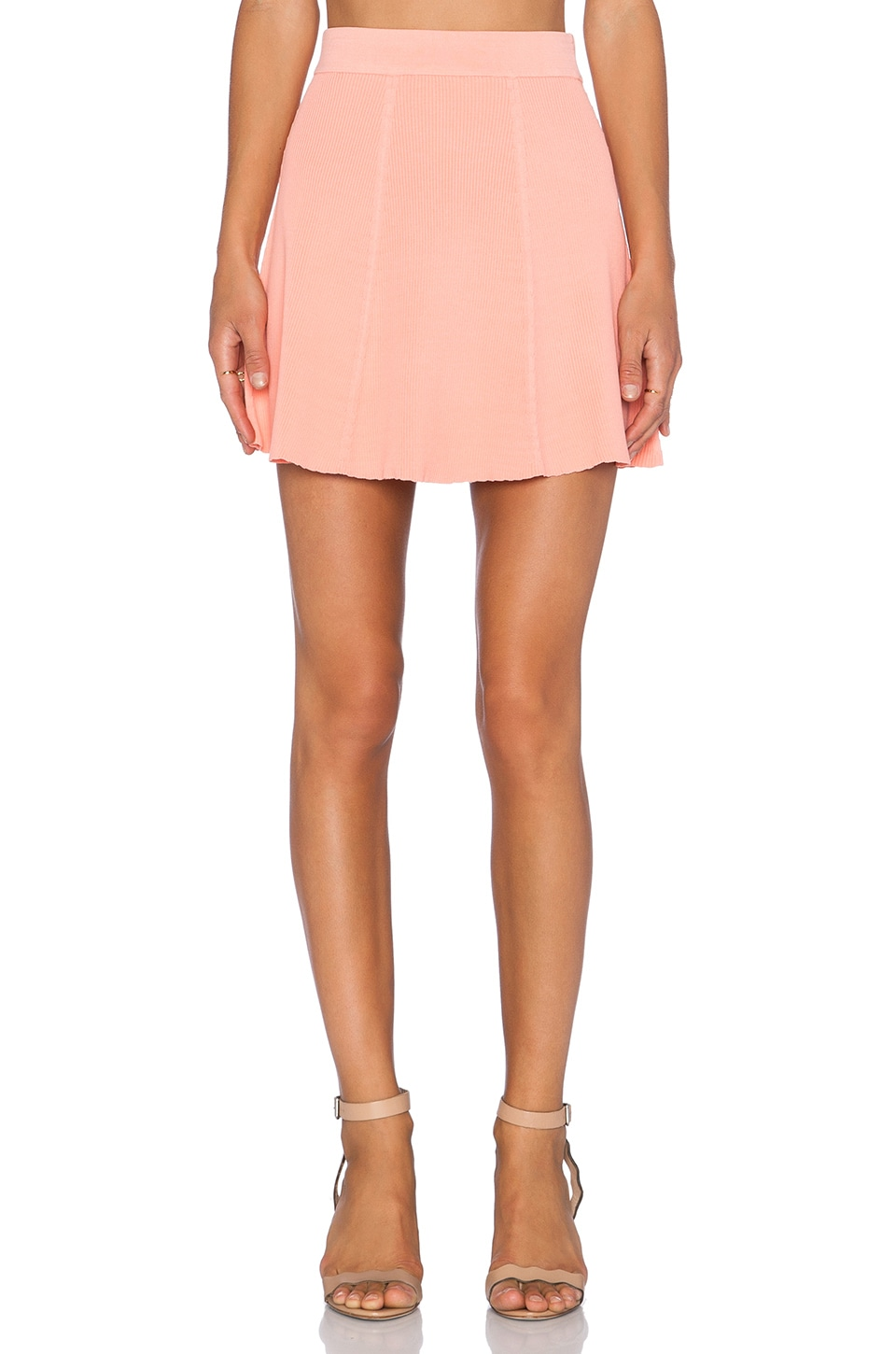 Lucy Paris Rib Skater Mini Skirt in Coral